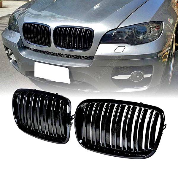 Grille-BMW-E70-E71-E72-Dubbel-Spijl-Hoogglans-Zwart